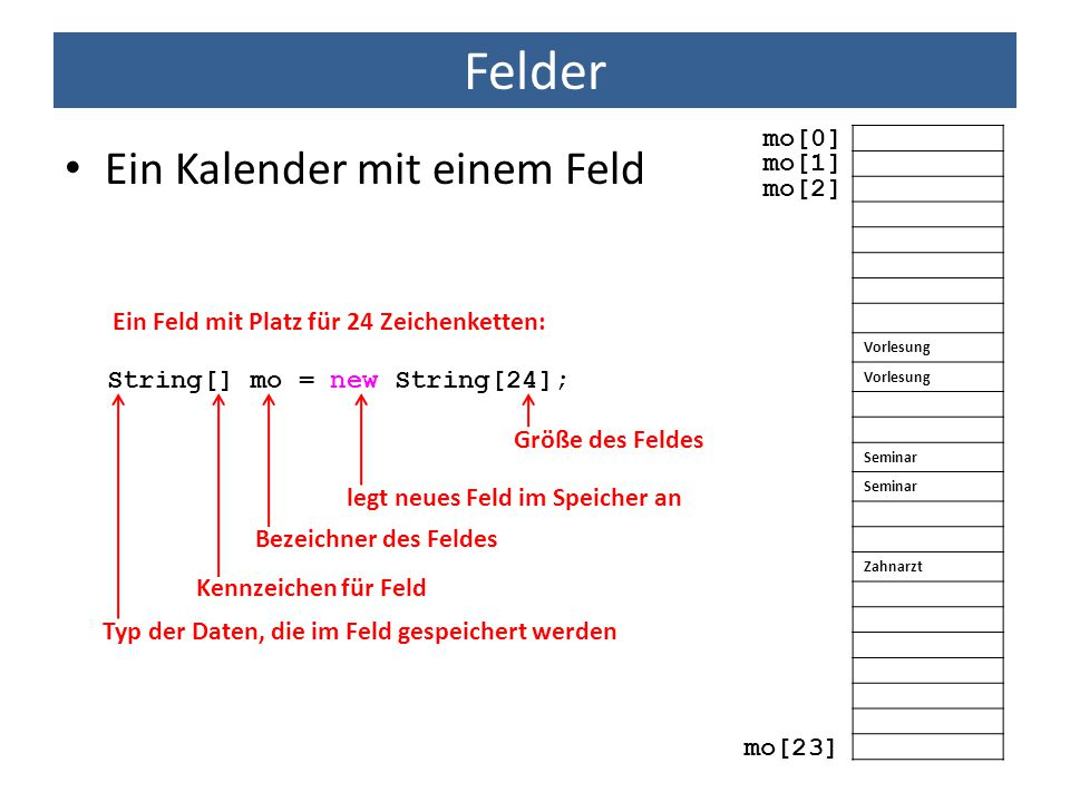 Felder Ein Kalender mit einem Feld mo[0] mo[1] mo[2]